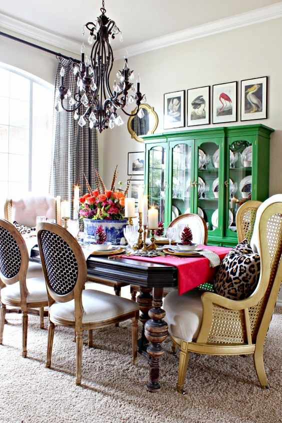 A colorful and eclectic dining room