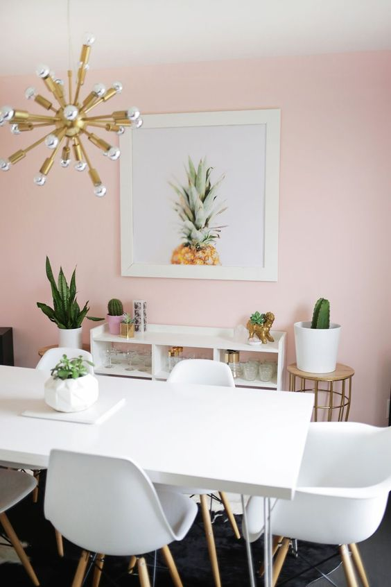 A simple and serene blush pink dining room