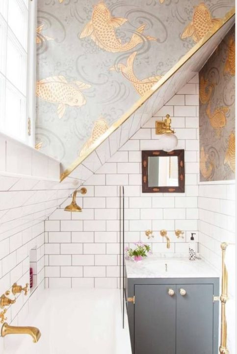 I love the goldfish wallpaper in this bathroom. If you are a bit nervous of bold wallpaper, put it in a powder room.