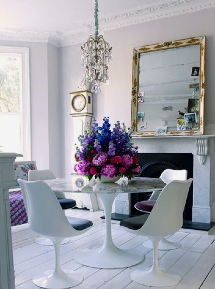 A large vase overloaded with flowers is a great centerpiece option