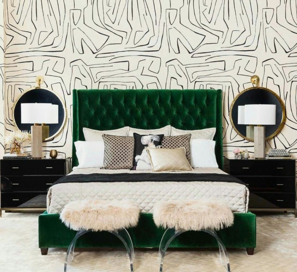 The patterned wallpaper adds tons of drama