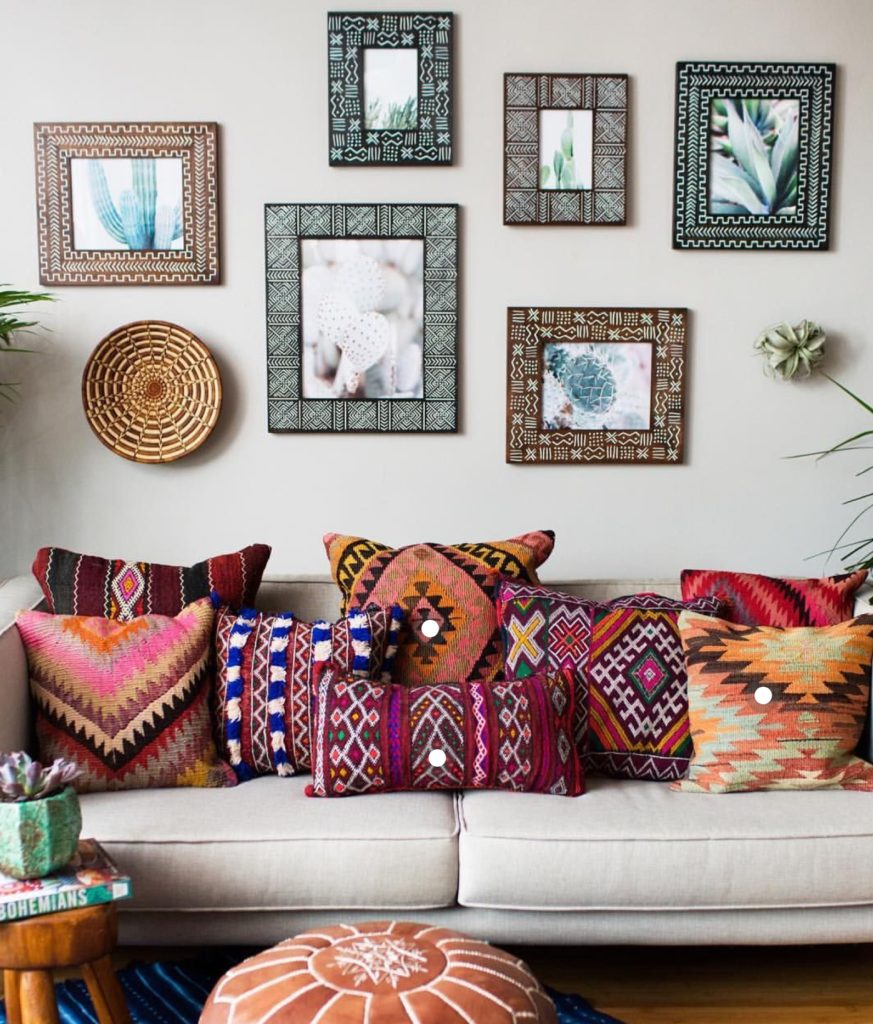 I love this bohemian throw pillow combination