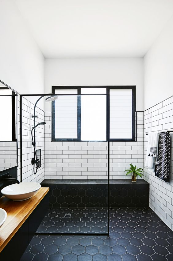 The Mix Of Rectangular White Subway Tile And Matte Black Hexagon Field Tile  Make This Bathroom The Perfect Modern And Masculine Retreat.